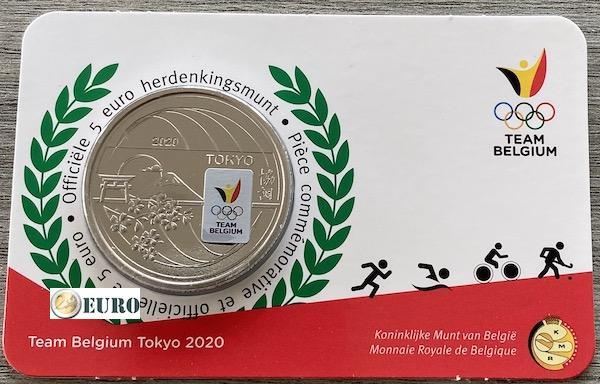 5 euros Belgique 2021 - Team Belgium Tokyo BU FDC Coincard Colorisé