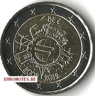 2 euros Belgique 2012 - 10 ans euro UNC