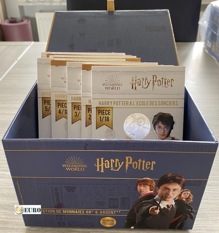 9 x 10 euros France 2021 - Harry Potter UNC argent en cartelette - Vague 1 + coffret