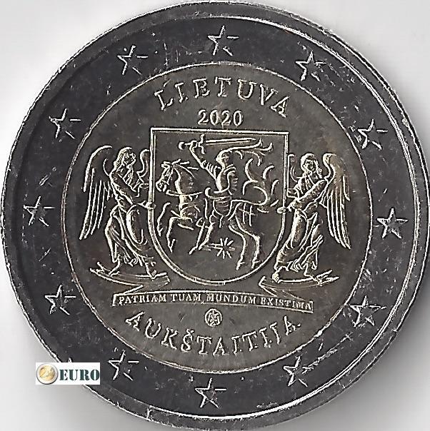 2 euros Lituanie 2020 - Région de Aukstaitija UNC