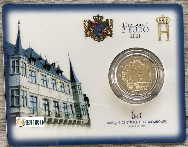 2 euros Luxembourg 2021 - 100 ans naissance Jean BU FDC Coincard