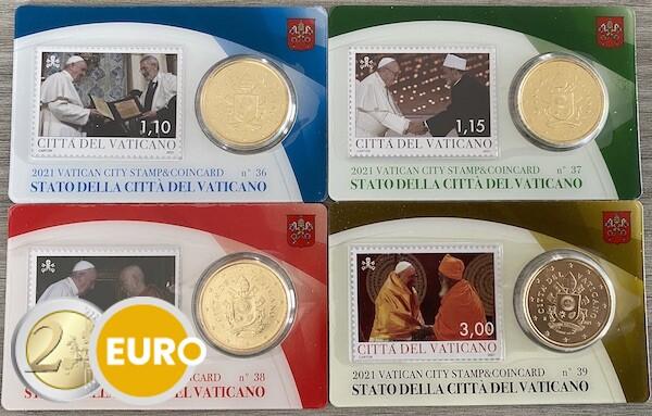 50 cents et timbre coincard Vatican 2021 - nr 36 + 37 + 38 + 39