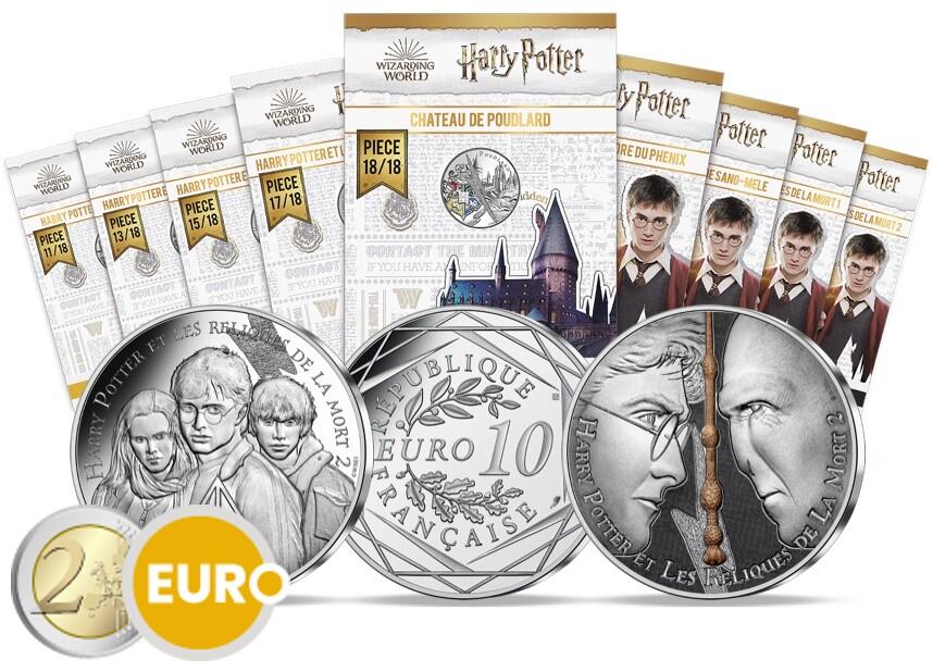 9 x 10 euros France 2021 - Harry Potter UNC argent en cartelette - Vague 2